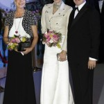 Princess Caroline of Hanover, Princess Charlene and Prince Albert II of Monaco arrive for the annual Rose Ball at the Monte-Carlo Sporting Club in Monte Carlo