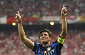 Inter Milan's Zanetti celebrates their victory against Bayern Munich after their Champions League final soccer match in Madrid